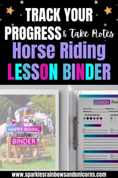 The Happy Riding Lesson Binder is a comprehensive riding lesson journal. There are over 60 different printable pages to choose from. Customize your riding lesson journal with the pages that are relevant to you. Get the most out of your riding lessons by looking back over what you learned and worked on in your lessons. Feel encouraged by seeing the progress you make. Click the link to see the full list of pages available in this printable binder. #horsebackriding #horseriding…