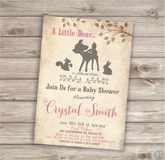 a Little Dear is Almost Here Invitations Baby Shower Printable Invitations Rustic Pink woodland Animals Fox girl theme Download NV603