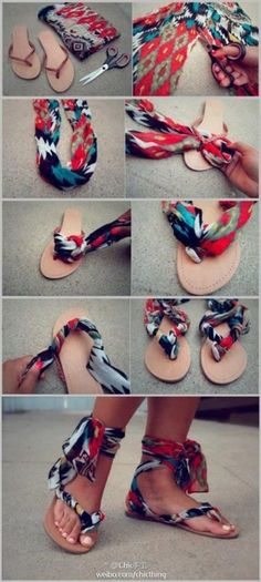 Take old flip flops and a scarf to make some great sandals!