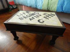 tavolino basso recuperato artigianlamente