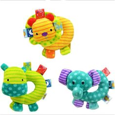 (3 PCS / LOT) Baby handbell baby toys cartoon toy with bell WJ107