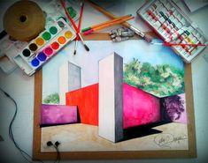 Casa luis barragan perspectiva exterior dibujo a mano alzada y acuarela