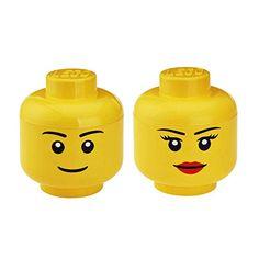 Lego 2x Yellow Dual Sided Head Silver Glasses w Headset