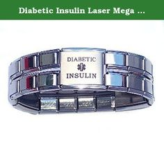 Diabetic Insulin Laser Mega Link Italian Charm Bracelet. BEAUTIFUL PREMIUM HIGH QUALITY 18MM MEDICAL ITALIAN CHARM BRACELET. HAS TWO 18MM LASER DIABETIC CHARMS SO IT CAN BE SEEN FROM EVERY ANGLE WHILE WEARING IT. GREAT FOR MEN AND WOMEN. STYLISH AND YET USEFUL. MAKES A GREAT GIFT FOR A FRIEND, LOVED ONE OR EVEN FOR YOURSELF!.