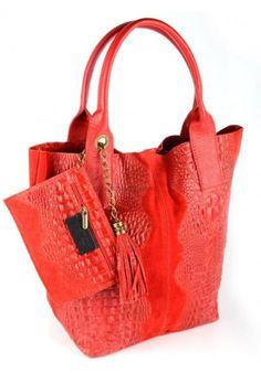 Bolso Shopper de piel coco Abeillé rojo