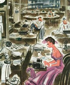Women At Work, art by Leonard Dove.  Detail from March 22, 1952 New Yorker Magazine.