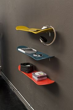 Children's rooms are a great opportunity to get creative, as these skateboard shelves demonstrate.