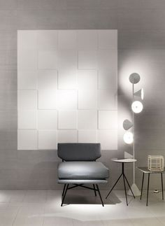 "MATHEREA flooring and FLEXIBLE ARCHITECTURE wall covering: a ""wow-effect"" for your living! #design #designtiles #tiles #philippestarck #starckdesign #white #floor #wall #covering #designchair #CeramicaSantAgostino"