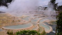 Wairakei Terraces, Taupo, New Zealand - man made geothermal/silica terraces give us a glimpse as to what the destroyed Pink and White Terraces natural wonder of the world) would have looked like before the Tarawera eruption of Accompanied by ho Places Around The World, Oh The Places You'll Go, Places To Visit, Around The Worlds, Beautiful World, Beautiful Places, Beautiful Architecture, Natural Wonders, Wonders Of The World