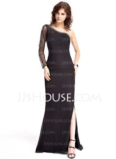 Evening Dresses - $156.99 - Sheath One-Shoulder Sweep Train Chiffon Tulle Evening Dress With Beading (017019455) http://jjshouse.com/Sheath-One-Shoulder-Sweep-Train-Chiffon-Tulle-Evening-Dress-With-Beading-017019455-g19455