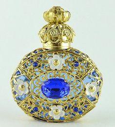 Vintage Light Blue Perfume Bottle Gold Tone Filigree Faceted Dark Blue Crystal