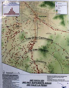 A map published by No More Deaths/No Mas Muertes of the route between Nogales and Tucson. The red dots indicate where people have died. The concentric circles show how many days walk to cover the distance. #immigration