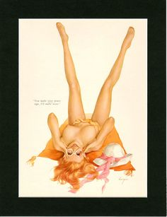 Vargas Girl Pin-Up August 1970 ~ Vintage Playboy Mature Print ~ Magazine Illustration ~ Nude Pinup Girl ~ Magazine Art ~ Paper Ephemera by VintageAdWorld on Etsy
