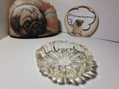 Vintage Small Round Crystal Ashtray with Gold Flecks *NO RESERVE*