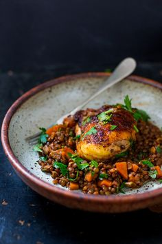 African Berbere Chicken over Ethiopian-spiced Lentils - full of SO MUCH of flavor, healthy and easy w/ a recipe for berbere spice blend. | www.feastingathome.com