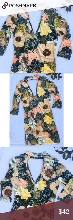 NWT Chrysanthemum print stretch velvet mini dress Chrysanthemum print stretch velvet mini dress with choker neckline. 3/4 sleeves. Fitted. Really cute modern take on a 70's style print. Size small. Measurements: armpit to armpit: 17 in. | length: 32.5 in. current + project Dresses Mini