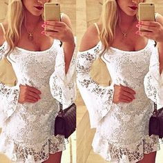 Sexy Women Lace Off Shoulder Long Sleeve Dress Bodycon Bandage Casual Mini Dresses Party