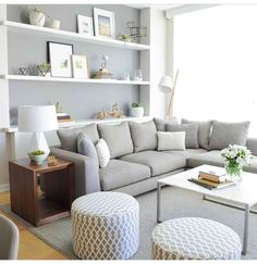 Bright grey living room white