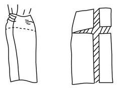 Illustration depicting pattern alteration of skirt for protruding derriere
