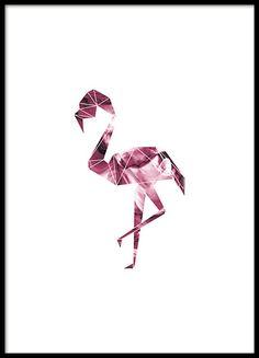 Een grafische poster met roze flamingo in geometrische vorm. Een interessant motief dat goed past bij een modern en trendy interieur. Past heel mooi in de kamer van de kinderen. www.desenio.nl