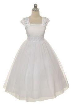Flower Girl Cap Sleeved Big Girls' White Dress First Holy Communion Junior Bridesmaid Dresses, Pageant Dresses, Satin Dresses, Dresses With Sleeves, Girls Dresses, Baby Dresses, Lace Dress, Formal Dresses, Girls White Dress