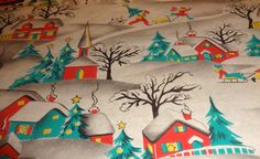 Vintage 1950's Dennison Christmas Wrapping Paper, NOS, Winter Scenes | eBay