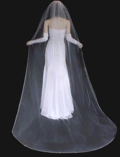 Crystal And Rhinestone Beaded Edge Cathedral Length Wedding Veil