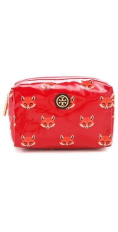 fox printed cosmetics case / tory burch
