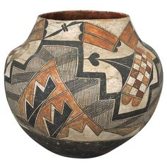 Antique Native American Pottery Olla - Acoma, 19th Century | From a unique collection of antique and modern native american objects at http://www.1stdibs.com/furniture/folk-art/native-american-objects/