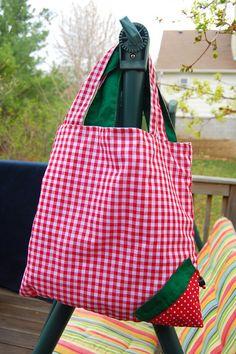 Cute Strawberry Bag Tutorial. Big bag scrunches into little strawberry bag.