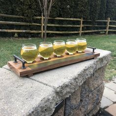 Craft Beer Flight Glasses Set with 4 Belgian Glasses, Wooden Serving Paddle, and Erasable Chalkboard Tape Strip for Restaurant, Bar, or Man Cave Micro Brew Tastings Key Product Features