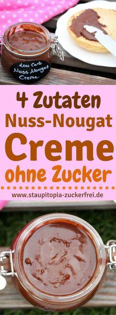 Die 4 Zutaten Nuss-Nougat Creme ohne Zucker: Es gibt kaum jemanden der eine leckere Low Carb Nuss-Nougat Creme zum Frühstück von seinem Brötchen des Platzes verweisen würde. Und da wir alle diesen Aufstrich so sehr lieben, musste für mich natürlich auch ein richtig leckeres und einfaches Low Carb Rezept her. Et voilà: hier kommt mein Rezept für leckere Low Carb Nuss-Nougat Creme, für die du nur 4 Zutaten und nicht mehr als 5 Minuten Zubereitungszeit benötigst. #aufstrich #ohnezucker