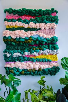 contemporary hand made weaving by Natalie Miller includes hand dyed wool and roving x ready to hang Weaving Loom Diy, Weaving Art, Weaving Patterns, Tapestry Weaving, Hand Weaving, Stitch Patterns, Knitting Patterns, Yarn Crafts, Diy Crafts