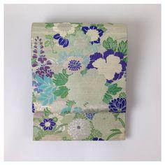 金の蔵屋 アンティーク 大正時代 正絹 絽 丸帯 良品 四季の花_画像2