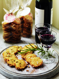 Cheese & Rosemary Sables.  These buttery, crumbly, melt-in-the-mouth biscuits make great canapes to serve with drinks.