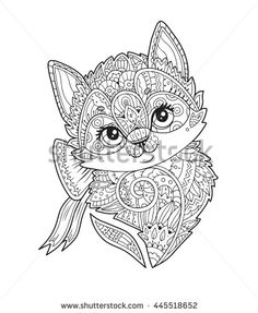 Hand Drawn Sketch Little Cat With Floral Ornament Adult Antistress Coloring Page Doodle Decorative Element For T Shirt Emblem Tattoo Logo