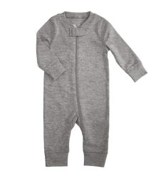 2a442fb3250 child wearing the zip romper in baby size 9-12 and color heather-gray