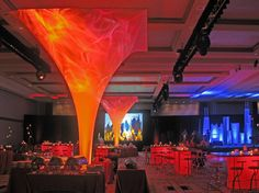 Decor in the middle of the room is a nice break to just main stage decor. This is a fire and ice theme execution.   I've worked with PSAV within hotels on many events I've organized and facilitated. Their AV solutions and professionalism have always been fantastic.