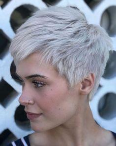 Short Textured White Blonde Cut