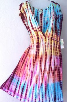 New One World Pink Blue Coral Tie Dyed Empire Boho Cover Up Dress 12 14 L Large | eBay
