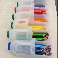 Recycling is very important - it's a message that's got into our minds from a very young age. However, when you can't see its use, it's hard to have the power to recycle plastic bottles, such as water and soda bottles. Making your own recycling proj Classroom Organisation, School Organization, Art Classroom, Organization Hacks, Future Classroom, Organizing Ideas, Organizing School Supplies, Organizing Crayons, Classroom Ideas For Teachers