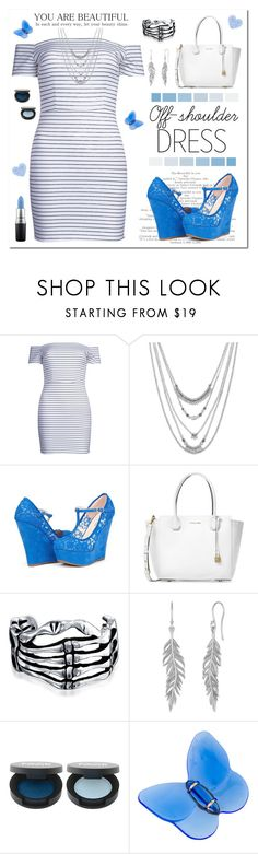 """""""Blue & off-shoulder summer"""" by jennifer-allison-bulnes-apolo ❤ liked on Polyvore featuring WithChic, Lucky Brand, Michael Kors, Bling Jewelry, FACE Stockholm, Baccarat and MAC Cosmetics"""