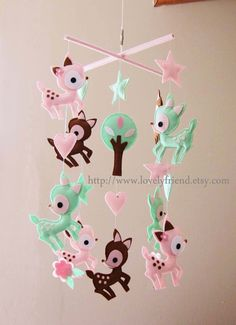 """Baby Mobile - Nursery Mobile - Long Decorative Hearts crib Mobile - """"Deers Love Hearts"""" Mobile - Crib Mobile (Custom Color Available) on Etsy, $100.00"""