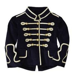 Baby Gap velvet gold and navy military style band jacket for rent from The Borrowed Boutique. Jacket will make the perfect addition to your next photo shoot. Black Military Jacket, Military Style Jackets, Navy Military, Cute Fashion, Boy Fashion, Band Jacket, Fashion Themes, Velvet Jacket, Vintage Coat