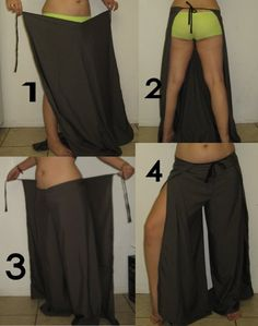 Wrap Pants DIY. Brilliant! These are so easy and can also be made into shorts or capris. Great for bathing suit cover ups or dressy occasions.