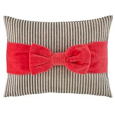 Pink Bow Throw Pillow | The Land of Nod