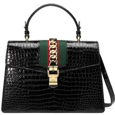 Gucci Sylvie Crocodile Shoulder Bag (273195 MAD) ❤ liked on Polyvore featuring bags, handbags, shoulder bags, bolsas, hand bags, crocodile purse, gucci, crocodile handbags and suede purse