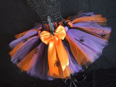 Girls Spooky Sewn Halloween Tutu with Spiders by OneLovelyLittleLady, $24.99