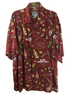 Mens Big Dogs Size 3X BBQ Shirt Print Button Front Rayon Beer Barbeque Grill #BigDogs #ButtonFront