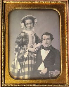 This is a daguerreotype of a fantastic young romantic couple with stunning clarity. The gorgeous young lady is wearing a breathtaking dress and a beautiful white bonnet with flowers tucked inside. Her lovely face is tilted up slightly towards the camera. | eBay!